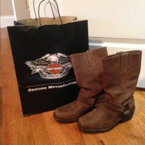 Harley Davidson Brown Leather Boots Like New